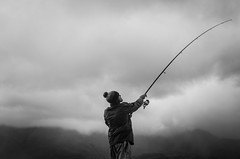 THE ANGLER (DanielO'Donnell & AbiPonceHardy) Tags: fisherman angler angling fishing sea loch linnhe fort william scotland rod man centre monochrome black white clouds atmosphere colonel mustard madame dijon daniel odonnell abi ponce hardy adventure trip youth road scottish