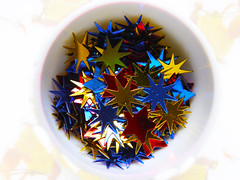 """My God, It's Full of Stars"" (Alan FEO2) Tags: eggcup shapes confetti 5point 6point 2001 aspaceodyssey jupiter davidbowman discovery one macromondays stars hmm panasonic dmc g1 2oef"