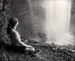 Contemplating the Fall (Joe Iannandrea) Tags: blackandwhite waterfall nature ishootfilm mamiyarb67pros 50mmf45sekorc rolleiretro80s pmkpyro epsonv500 girl outdoor decewfalls stcatharines ontario canada