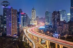 Shanghai Central Intersection Zhabei - 28-Jul-2016 (--) Tags: shanghai light trails jingan zhabei long exposure night city center blue hour sunset rush elevated roads buildings skyscrapers alpa 12 max rodenstock hr sw 90 90mm f56 phase one p45