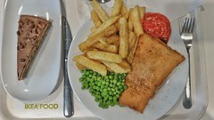 Ikea Food. (ManOfYorkshire) Tags: fishchips daim cake torte peas lunch luncheon dinner snack food restaurant tomato sauce chips fish knife fork cutlery ikea uk birstall westyorkshire plate tray selfservice