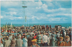 """UP St Ignace Mackinaw MI 1954 BIG MAC BRIDGE CONSTRUCTION GROUND BREAKING DAY at ST IGNACE side of the Bridge over Straits of Mackinac end of era for State Car & Rail Ferrys May 7 1954 (UpNorth Memories - Donald (Don) Harrison) Tags: """" """"railroad ferry"""" """"car excursion vintage antique postcard rppc """"don harrison"""" """"upnorth memories"""" upnorth memories upnorthmemories michigan history heritage travel tourism """"michigan roadside restaurants cafes motels hotels """"tourist stops"""" """"travel trailer parks"""" campgrounds cottages cabins """"roadside entertainment"""" """"natural wonders"""" attractions usa puremichigan"""