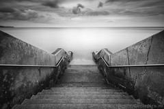 Fifty Shades ... (raoul_baart) Tags: sea seascape northsea yorkshire scarborough blackandwhite bw blackwhite coast beach stairs landscape longexposure lee langesluitertijd handrails clouds nikon filter nd ndfilter ndgrad leefilters bigstopper grey 10stop greatbritain england