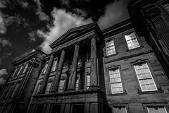Calke Abbey. (Ian Emerson (Looking forward to a Scotland trip)) Tags: calke abbey house pillars windows glass stone heritage nationaltrust baroque architecture listed blackwhite derbyshire lines clouds canon 1018mm outdoor omot
