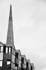 DSC_2930 [ps] - Gable End Peak (Anyhoo) Tags: anyhoo photobyanyhoo scotland uk urban glasgow stone sandstone modern offices officeblock tower spire steeple gable glass glazing wall windows facade faade bw blackandwhite repetition