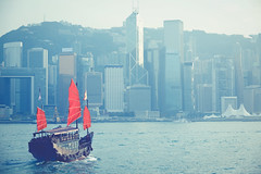 Hong Kong (Patrick Foto ;)) Tags: architecture asia background blue boat building center china chinese city cityscape color colour cruise downtown famous film flag harbor harbour hong hongkong island junk kong landmark landscape modern ocean port red sail sailboat sea ship sightseeing skyline skyscraper tone tour tourism tourist traditional transport transportation travel vessel victoria vintage water wooden kowloon hk