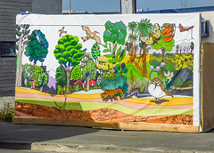 False Advertising (Steve Taylor (Photography)) Tags: bird crustacean moth eel art mural colourful plastic newzealand nz southisland canterbury christchurch cbd city tree lobster