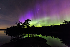 Northern Lights Finland (Ville Airo) Tags: northern lights aurora borealis finland lake reflection september green violet black outdoor landscape night stars otava ursa major