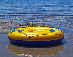 The Toys of Summer (oybay) Tags: bearlake bear lake idaho raft water reflection color colors summer toy kids floater floatie wet wild vacation iconic nature natural lifesaver life saver yellow blue cool cooler coolest refresh floaton