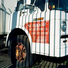 Seymour stripes (ADMurr) Tags: la pico ktown see more seymour stripes rolleiflex kodak ektar film mf 6x6 orange white