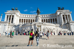 Rome, Italy- Tourists in front of Il Vittoriano monument, otherwise called Altare della Patria (Altar of the Fatherland) in honor of Victor Emmanuel II of Savoy and contains a museum of the Risorgimento. This monument is one of Rome's seven hills within t (Remsberg Photos) Tags: europe italy rome ancient ancientcivilization roman architecture buitstructure tourist sightseeing photography history historical internationallandmark capitolcity romaprovince ancientrome art equestrians horses statues ilvittoriano monument romessvenhills capitol campigoglio alterofthefatherland altaredellapatria ita