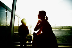 """sunrise at the gate"" or ""mother and son"" (kirilko) Tags: motherandson silhouette sunrise fujix100 fujifinepix 35mm contrejour highcontrast kbp kyiv ukraine boryspil atgate airport morning"