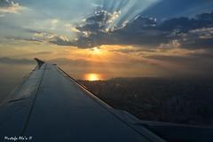 #Aerial_sunset (Mustafa Ala'a) Tags: landing airplane plane sunset cityscape landscape sky sea seascape