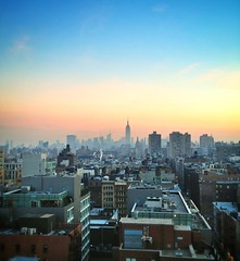 New York Skyline from TriBeCa (Stephan Segraves) Tags: nyc morning newyork beautiful skyline sunrise manhattan tribeca empirestatebuilding uploaded:by=flickrmobile flickriosapp:filter=nofilter