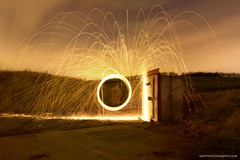 Raining Fire (Zo0Bear) Tags: uk our england orange wool beautiful yellow night clouds cat wow circle landscape fire photography wire flickr risk place time steel spin dramatic scene daily spinning take 365 sparks copy challenge sparkling odc a