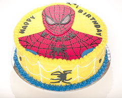 Spiderman Cake Ethan II (Doha Sam) Tags: birthday red party white home cooking yellow cake digital umbrella studio nikon raw flash spiderman indoors diffuser doha qatar d80 strobist lumopro colorperfect perfectraw samagnew smashandgrabphotocom lp160 colorpos wwwsamagnewcom maketiff