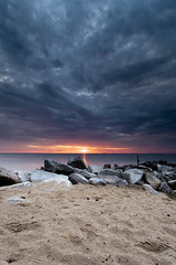 where there is smoke, there is fire (dK.i photography) Tags: seascape beach colors clouds sunrise landscape happy sand warm jetty dramatic maryland www northbeach archives cloudscape chesapeakebay singhrayrgnd