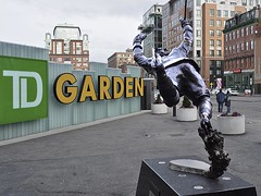 Flying in Boston (AntyDiluvian) Tags: statue boston massachusetts arena bostonbruins bostongarden westend stanleycup northstation bobbyorr causewaystreet defenseman tdgarden