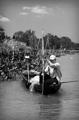 Stuck (William J H Leonard) Tags: people blackandwhite bw water monochrome river asian boats boat asia southeastasia vietnamese vietnam longtail longtailboat mekong mekongriver rowingboat southeastasian caibe blackwhitephotos southernvietnam mekongriverdelta