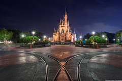 The Magic Kingdom & The Night All the People Disappeared (TheTimeTheSpace) Tags: longexposure night hub reflections stars lights nikon disney disneyworld waltdisneyworld hdr magickingdom partners cinderellascastle matthewcooper photomatix nikond800 thetimethespace