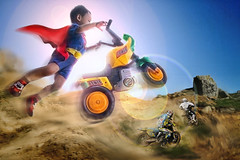 MotoX Baby (Abel Brata) Tags: photomanipulation photoshop fly flying offroad superman photoediting imagemanipulation motocross superboy compositing motox superkid imagecompositing