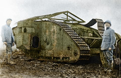 Two Poilu and a tank (Nick J Stone) Tags: french somme poilu britishtank ww1tank ww1incolour ww1tankincolour