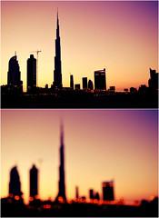 Dubai (Israa AlBalushi) Tags: sunset lights dubai bokeh uae burj khaleefa