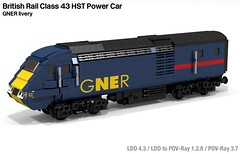 BR HST Power Car (GNER) (michaelgale) Tags: train lego diesel locomotive britishrail gner povray hst moc ldd britishrailways class43 ic125 legomoc lddtopovray