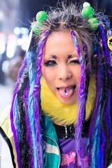 Tongue Piercing & Purple, Harajuku (tokyofashion) Tags: fashion japan hair japanese tokyo purple goth style piercing harajuku rave raver pill cyber cybergoth tonguepiercing candyraver hairfalls piercedtongue 2013
