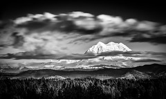 Mt. Rainier from the West #2 (TroyMasonPhotography) Tags: longexposure winter blackandwhite bw mountain snow clouds landscape washington nationalpark peace mountrainier mtrainier puyallupfair tahoma piercecounty washingtonstatefair tanwax tanwaxcountrychapel myblurclouds