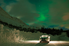 Aurora Borealis with Skoda (Csaba Kovacs) Tags: winter light snow long expo superb teal north aurora borealis skoda norther fny sarki jszaka szaki