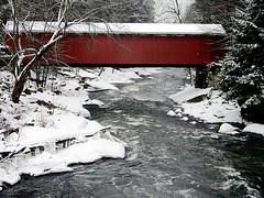 McConnell's Mill State Park (kjimbo (Wishes for Peace)) Tags: bridge snow ice creek coveredbridge slipperyrockcreek mcconnellsmillstatepark rememberthatmomentlevel1