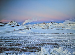 Iceland Sunset Colors (` Toshio ') Tags: pink blue winter sunset white snow mountains cold landscape iceland europe european steam thermal icelandic toshio lavarocks lakemyvatn lakemyvatnnaturebaths