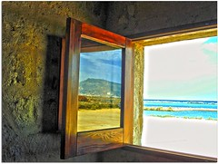 The town of Erice is reflected on a window of the Salt Museum - Trapani - Sicily - Italy (Uscè (OFF,OFF!!!!!)) Tags: friends light shadow red sea sky italy panorama orange sun mountain holiday seascape reflection green texture colors yellow skyline landscape photo europe country perspective sicily recreation hdr jesi erice trapani eugenio photographyfor staffolo museodelsale coppari bestcapturesaoi mygearandme mygearandmepremium mygearandmebronze mygearandmesilver mygearandmegold mygearandmeplatinum mygearandmediamond uscè photographyforrecreation rememberthatmomentlevel1