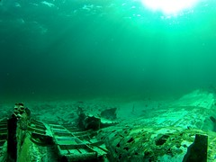 DC-3 wreck with schooling fish (someguynamedmatt) Tags: scuba diving bahamas wreck dc3 exumas