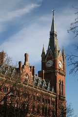 London St Pancras (stevecadman) Tags: brick london hotel eurostar 19thcentury victorian railwaystation ornate picturesque redbrick georgegilbertscott polychrome assymetrical assymetry railwayhotel londonstpancras stpancrasinternational gothicrevival19thcenturyvictorianlondongeorgegilbertscotthotelrailwaystationgothicrevival
