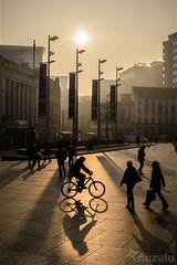 Cycling Shadows (Nuzulu) Tags: nottingham bicycle shadows goldenhour oldmarketsquare