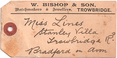 W Bishop & Son Swing Ticket (Trowbridge Postcards & Ephemera) Tags: ephemera watchmaker jeweller trowbridge