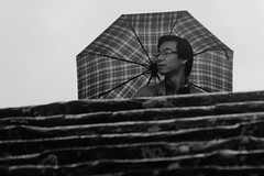 Rainy street shot (guido.masi) Tags: canon eos 550d firenze florence bw blackandwhite biancoenero guidomasi umbrella ombrello scale scalinata