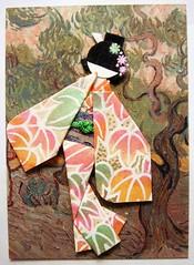 ATC1147 - Geisha au Van Gogh (tengds) Tags: pink orange brown green leaves atc geisha kimono obi vangogh papercraft japanesepaper washi ningyo handmadecard chiyogami yuzenwashi japanesepaperdoll origamidoll nailartsticker vangoghpainting tengds