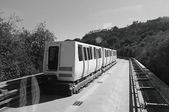 Passing the other tram (moremooredesign) Tags: blackandwhite bw museum la losangeles tram artmuseum gettycenter cabletram