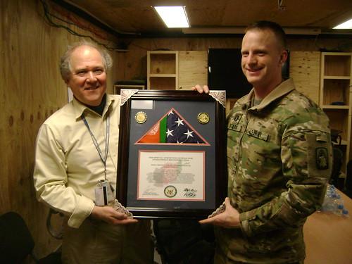 SIGAR Sopko Presents Award to Capt. Aaron Stark