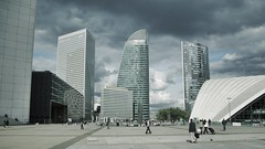 (antonio ramudo) Tags: street city paris france building architecture skyscraper october europe pentax gray panoramic ladefense defense 2012 cnit sfr k10d