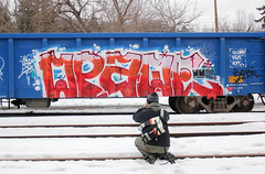 Opaqe (The Braindead) Tags: art minnesota train bench found lost photography graffiti painted tracks minneapolis twin rail explore opaque beyond the braindead cites opak opaqe