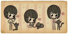 Ayuda... (Anita Mejia) Tags: pink cute girl illustration pen ink cat reading sketch cartoon kitty books seuss read doodle kawaii vacaciones comicdiary chocolatita anitamejia springbreac