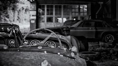 Rusty memories of the open road... (Go placidly amidst the noise and haste...) Tags: abandoned garage rusty devon triumph xjs jaguar dilapidated westcountry tr3 chapmanswell