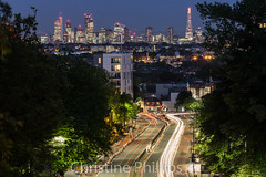 London's Skyline as seen from Hornsey Lane Bridge (Christine's Observations) Tags: longexposure london skyline night high low business busy lighttrails archway highgate hornseylanebridge suicidebridge