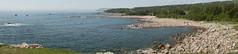 Green Cove (scott_clark) Tags: novascotia capebretonhighlandsnationalpark canada panorama landscape seascape coast beach shore forest spruce park lobster boats