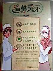 Warm reminder, anime-style (MFinChina) Tags: china beijing muslim islam halal quinzhen cute anime eyes hijab     sign dont