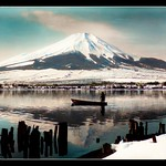 THE LONE BOATMAN AND HIS SKIFF on the PLACID WATERS OF LAKE YAMANAKA -- A Scene Under MT. FUJI in the DEAD OF WINTER thumbnail